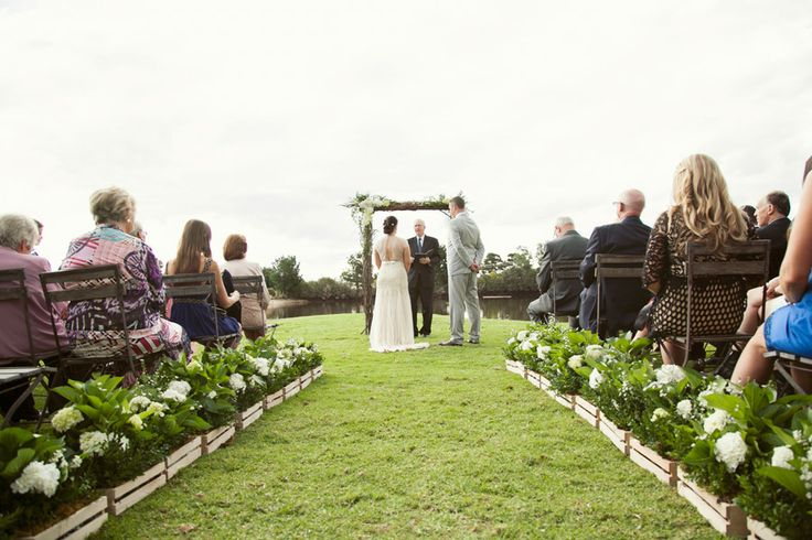 Planter boxes down your aisle adds a lovely touch!  Weddings at Stillwater - Mornington Peninsula  www.stillwateratcrittenden.com.au