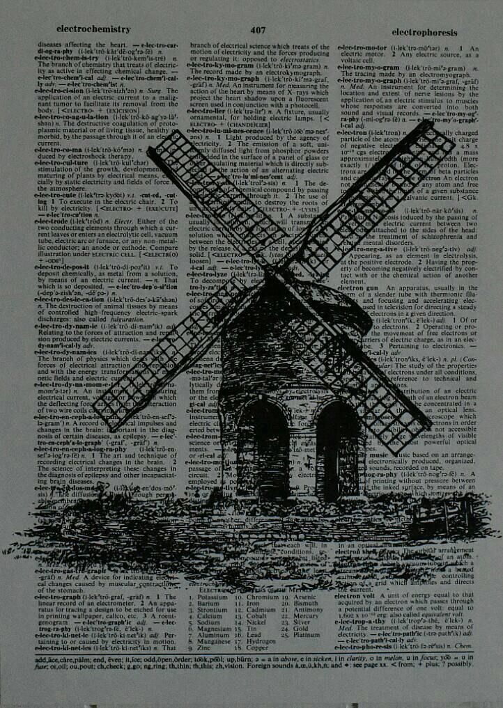 Old Windmill - Authentic Dictionary page print - vintage - home- unique decor -book lovers vintage fun gifts - literary - unique - different