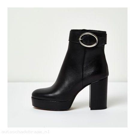 Kies Uit Een Brede Selectie Zwarte leren laarzen met plateauzool, hak en gesp Lichtgewicht YT09zUsFHcI2