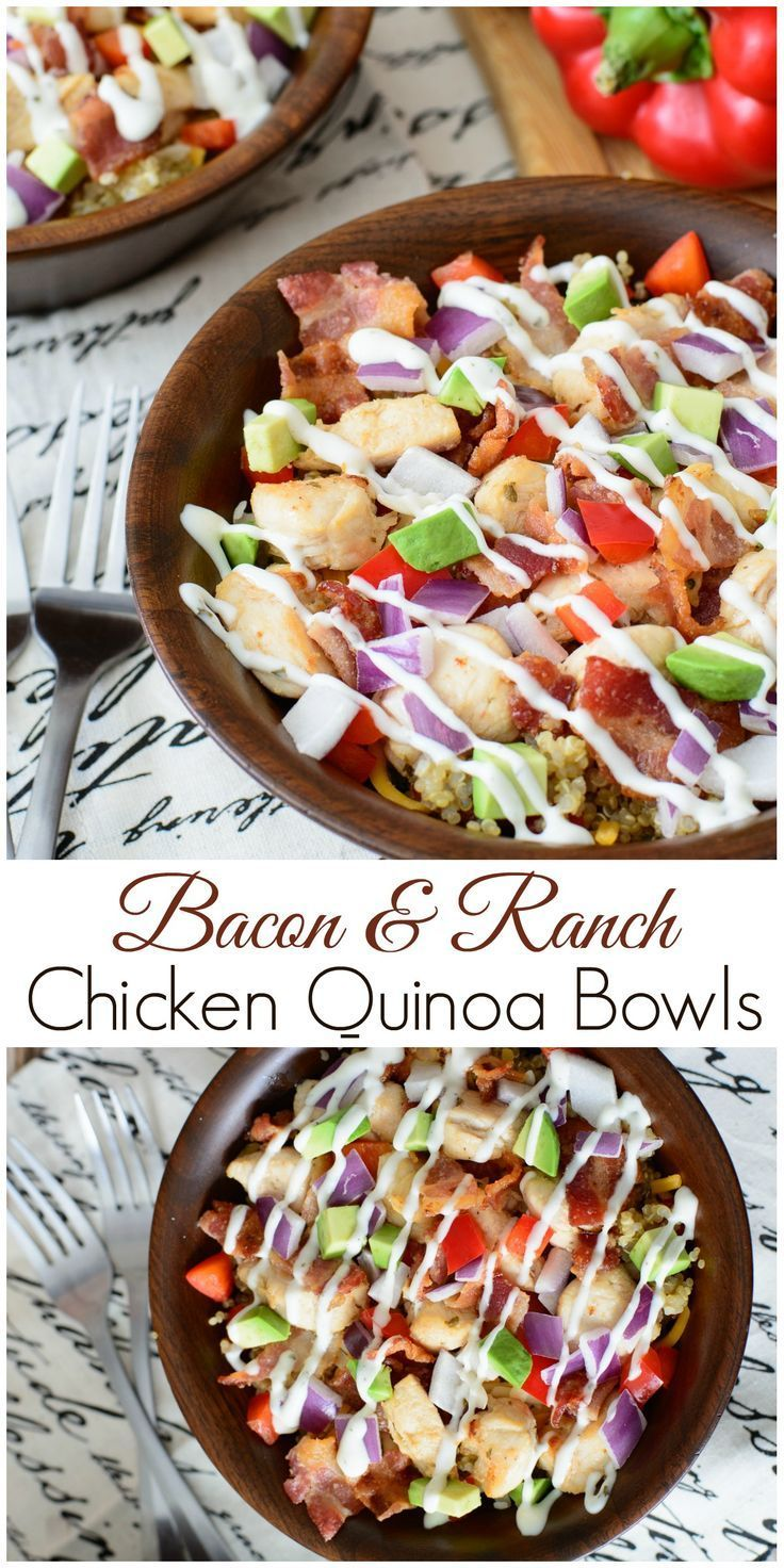Bacon & Ranch Chicken Quinoa Bowls -- easy to make, naturally gluten-free and full of robust flavor. This delicious lunch bowl is a healthy alternative to fast food and you are sure to love every bite!