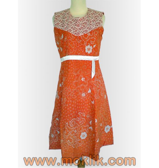 dress batik tanpa lengan