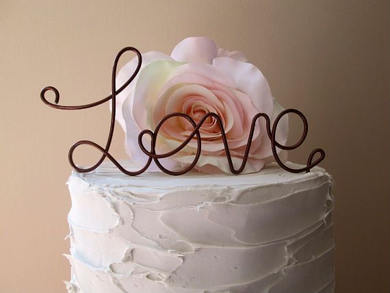LOVE Wedding Cake Topper  Vintage Wedding Cake by AntoArts on Etsy