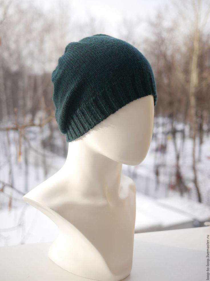 Купить Вязаная шапка - тёмно-зелёный, однотонный, вязаная шапка, мужская шапка, женская шапка