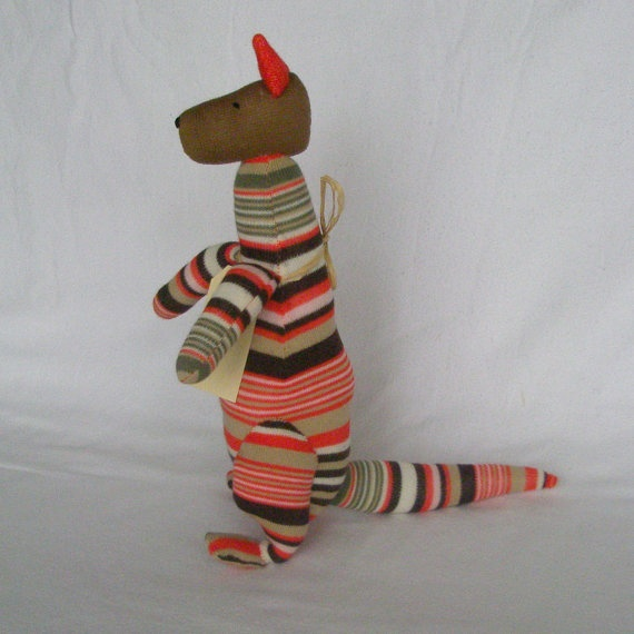Kane Kangaroo Sock kangaroo  Soft plush toy by lostsockshome, $23.00