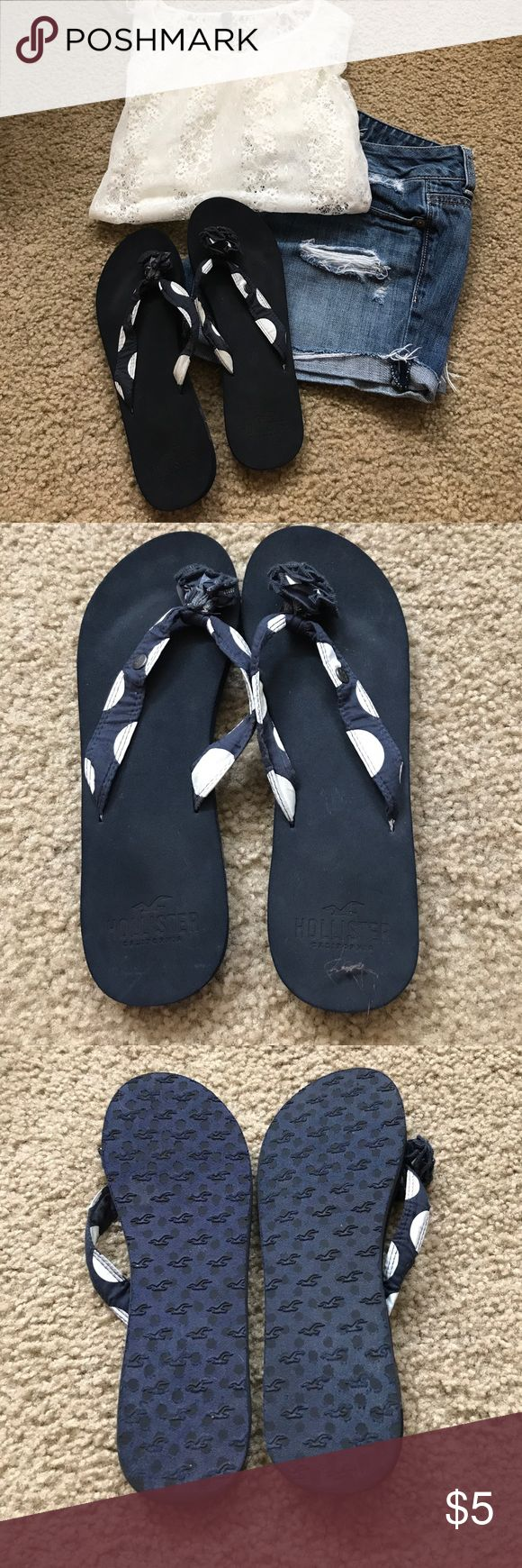 Hollister size 6/7 Polka dot flip flops Used condition. Slight smudges on white Polka dot portion. But otherwise they look new Hollister Shoes Sandals