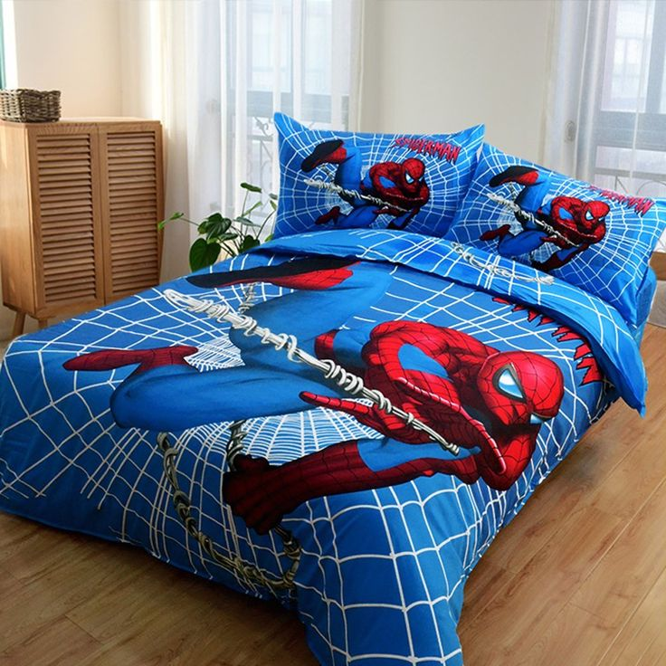 MeMoreCool 100% Cotton Marvel Amazing Spiderman Kids Bedding Set,Perfect Gifts for Boys,Fashion Chartoon Designs Print Duvet Cover,Flat Sheet,3 Pcs,Twin //Price: $51.38 & FREE Shipping //     #hashtag4