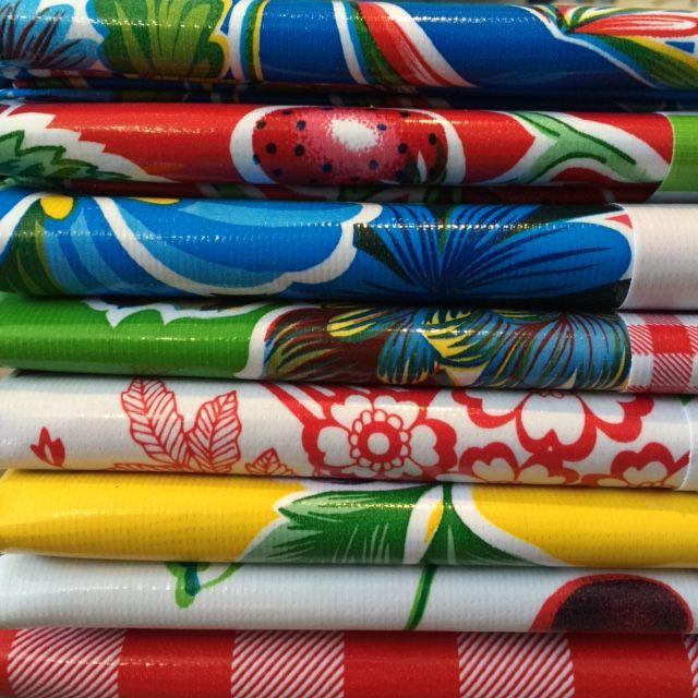 Bright Tablecloth Oilskin easy clean, vibrant colours #helloblueflamingo #tablecloth #flamingo