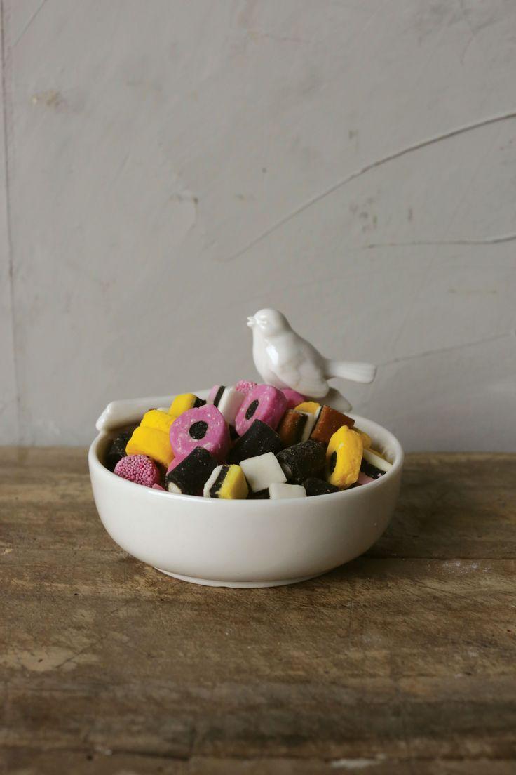 Abbeville Ceramic Bowl with Bird White