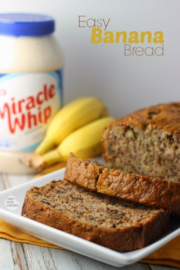 Easiest Banana Bread EVER featuring KRAFT MIRACLE WHIP Dressing   Renee's Kitchen Adventures #TasteTheMiracle #Ad