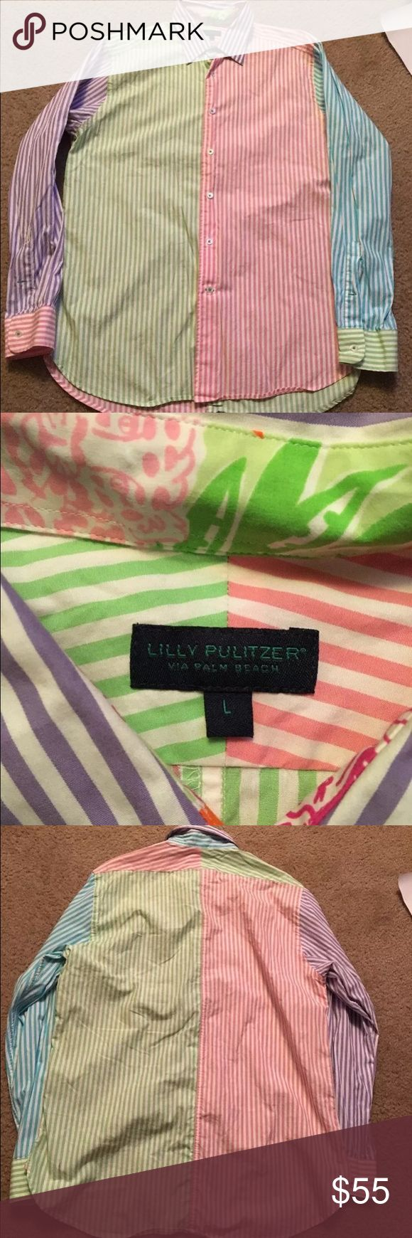 LILLY PULITZER Pastel Multicolor  Via Palm Beach Item: Used Men's LILLY PULITZER Xl Shirt Pastel Multicolor L unisex Unique Via Palm Beach  Measurements (approx. in inches) Pit to pit 24 Top to bottom 29 Cuff to pit 22 Lilly Pulitzer Shirts Dress Shirts