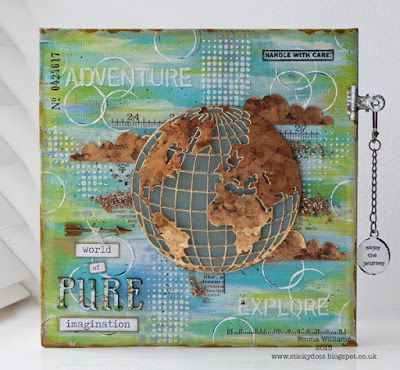 globe is Tim's metallic paper with Alcohol inks.... That's Life: Inspiration and Imagination ~ Simon Says Stamp Monday Challenge