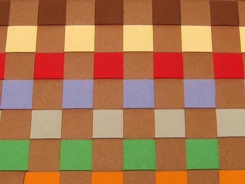 Woven construction paper placemats