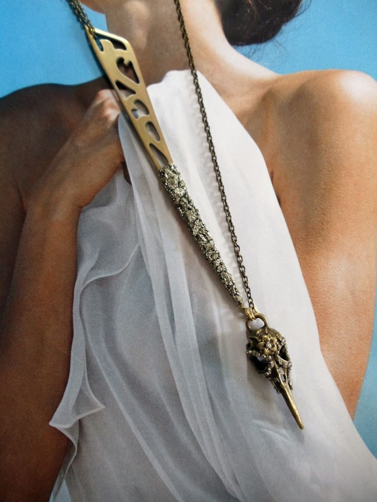 Brass Bird Skull Necklace with Pyrite by www.marlymoretti.com