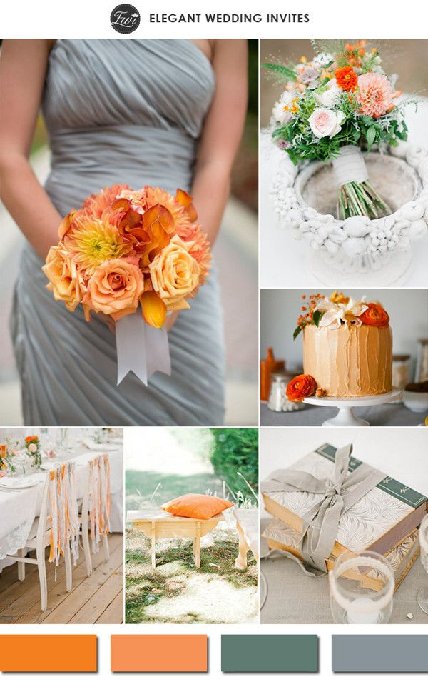 trending tangerine and gray spring wedding color ideas 2015 #elegantweddinginvites