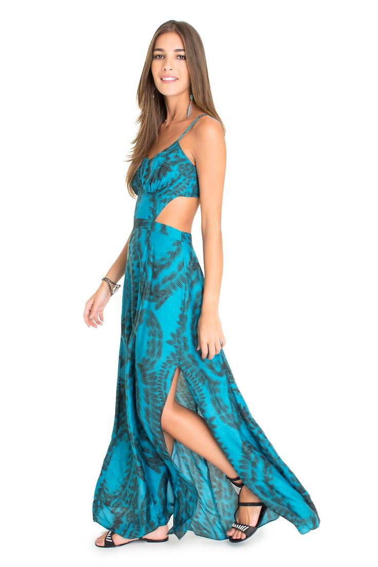 Vestido longo estampa penas pontilhadas | Dress to