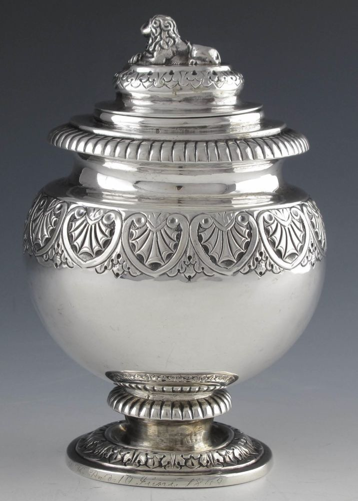 RARE AND UNIQUE DUTCH STERLING SILVER TEA CADDY WITH LION FINIAL-1831