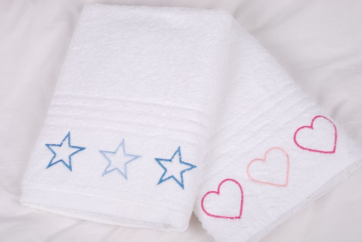 White bath towel with star or heart embroidery for boys or girls available from Tom & Bella