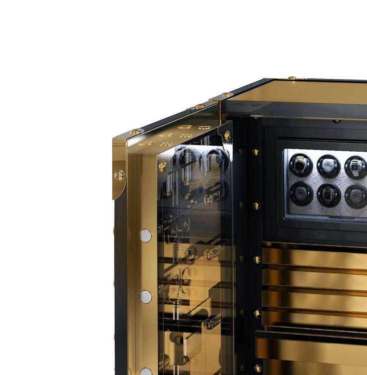 J. Emmanuel Knox Luxury Safe Exlusive Furniture #JE #JEmmanuel #Glass #Gold #Artwork #Sophisticated #Safest #Treasure #Guard #Precious #Possession #DetailedWork #MetalWork #Luxury #GroupeLuxe