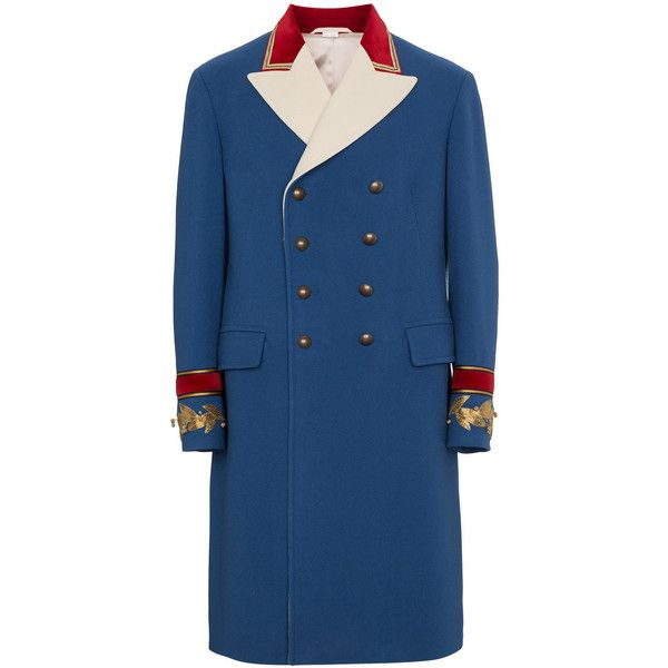 Gucci wool cashmere coat ($4,600) ❤ liked on Polyvore featuring men's fashion, men's clothing, men's outerwear, men's coats, blue, mens cashmere coat, mens blue trench coat, gucci mens coat, mens wool coats and mens wool outerwear