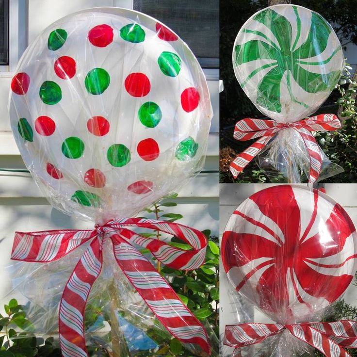 Huge Lollipops For Outdoor Christmas Decor...Use Paper Plates, Glue Or Staple 3 Or 4 Together...Decorate With Christmas Colors & Wrap In Cellophane...Attach To A Wooden Stake, Then Tie Off With A Pretty Bow Using Christmas Ribbon...