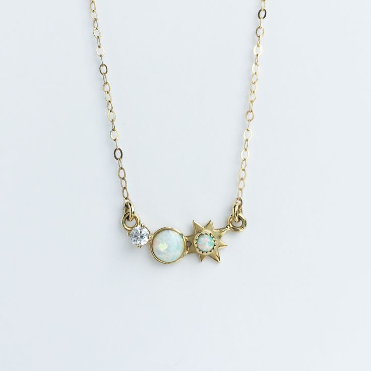 3 wishes opal and diamond pendant necklace | local eclectic