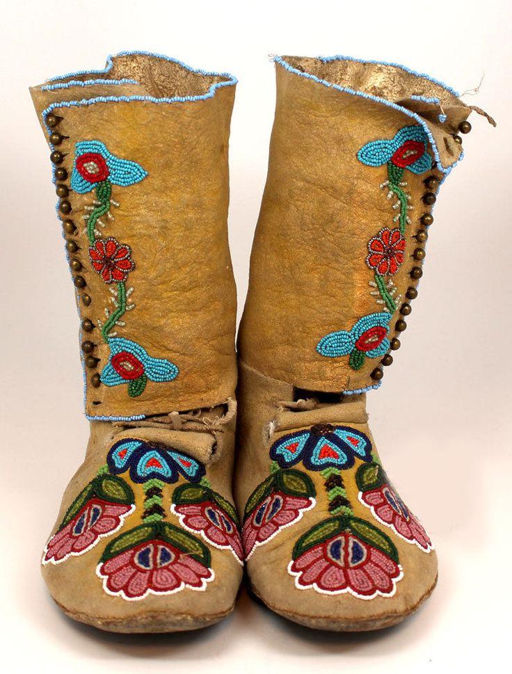 1900's Native American CREE Beaded America Moccasins   eBay