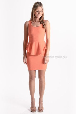 radiant smile peplum cocktail dress - orange - sale