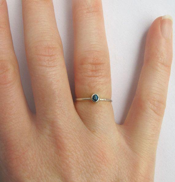 Blue Topaz gemstone ring  sterling silver by SilverJewelleryHS