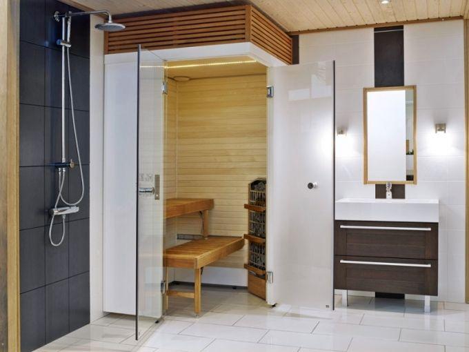 Sauna SmartFold (Harvia), materiál osika a skleněné panely, rozměr 120 x 120 x 208 cm, kompletní model stačí připojit do zásuvky, cena včetně doplňků od 165 000 Kč, www.finskasauna.cz