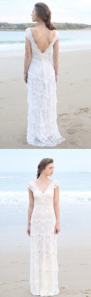 Dipped Coat Cap-Sleeve Tired Boho Style Wedding Dress and Deep-V Back-715055