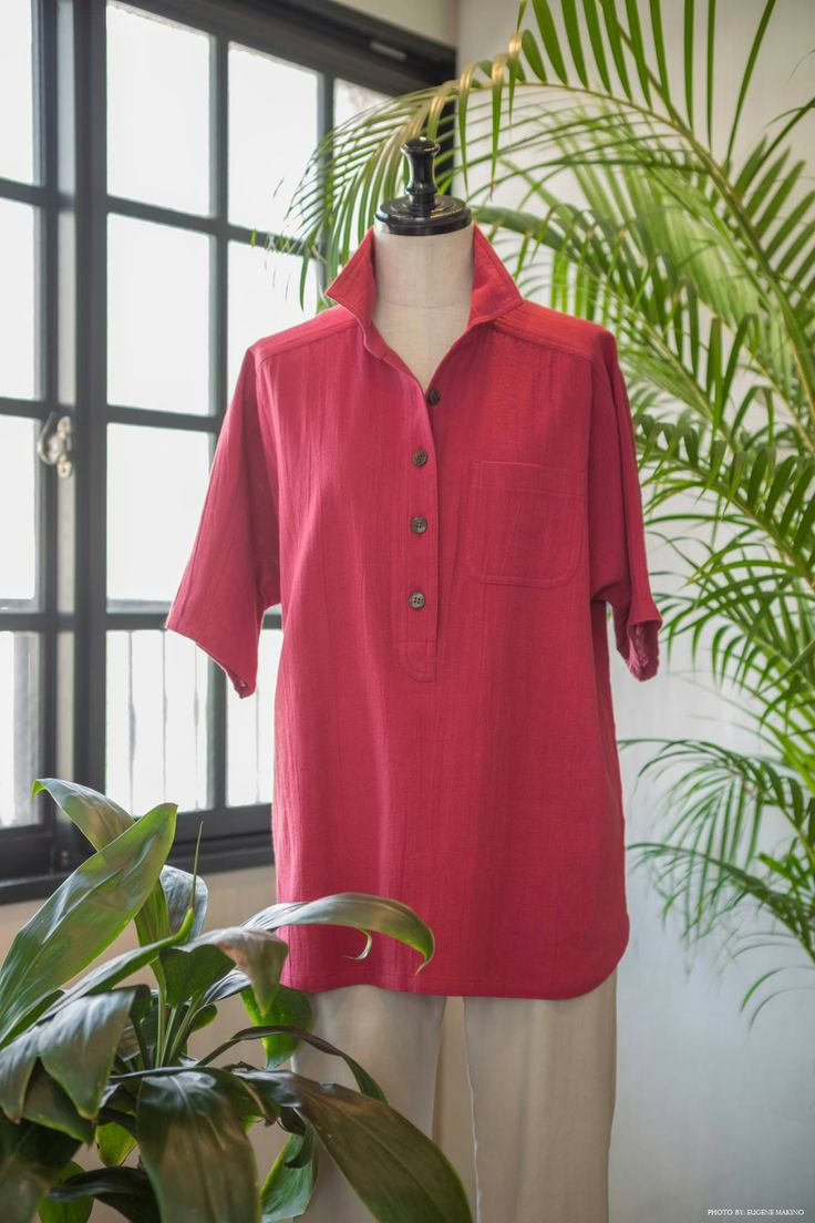 GRAPE Motomachi / Nep Yarn Cotton Top #cotton #nep #yarn #red #blouse #grapemotomachi
