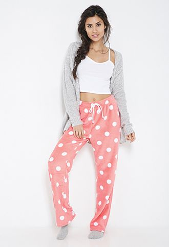 $14.90 Plush Polka Dot PJ Pants | FOREVER21 - 2000101105