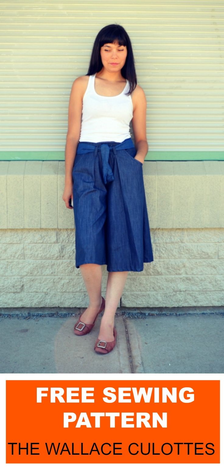 FREE SEWING PATTERN: The Wallace Culottes Pattern: Learn how to make a quick culottes pants with a free sewing pattern and step by step sewing tutorial.