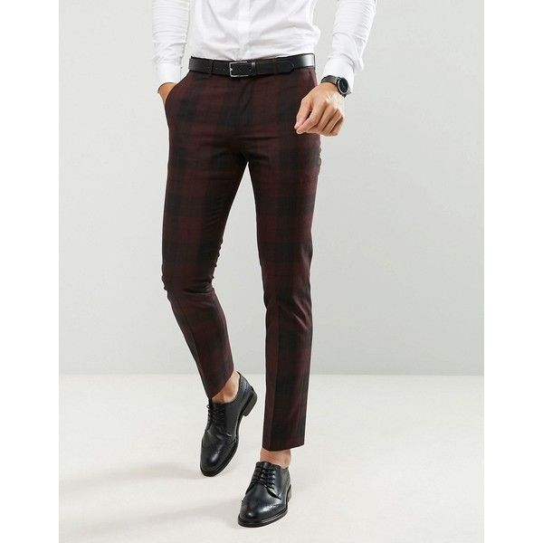 Farah Skinny Suit Pants In Check (375 PLN) ❤ liked on Polyvore featuring men's fashion, men's clothing, red, roaring 20s mens clothing, rockabilly mens clothing, 1920s mens clothing, roaring twenties men's fashion and farah mens clothing