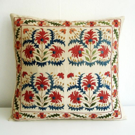 Embroidered Suzani Pillow -- Anatolian and Middle Eastern Patterns