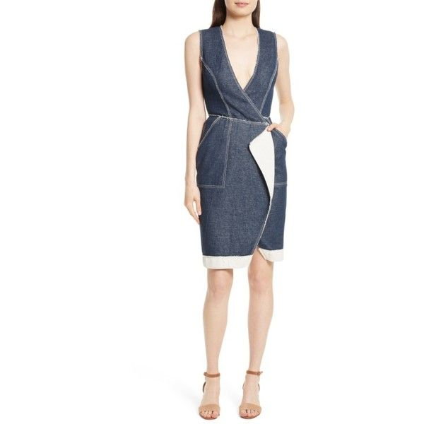 Women's Tracy Reese Surplice Denim Sheath Dress ($348) ❤ liked on Polyvore featuring dresses, indigo, denim sheath dress, white color dress, denim dress, white dress and polish dress