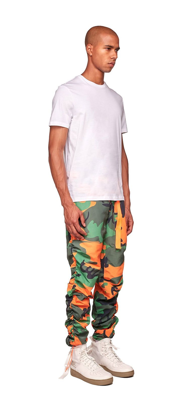 Camouflage Cool Breeze Pants / Made of a lightweight nylon, this slim fit cargo pants features an all-over camouflage print. #fw17