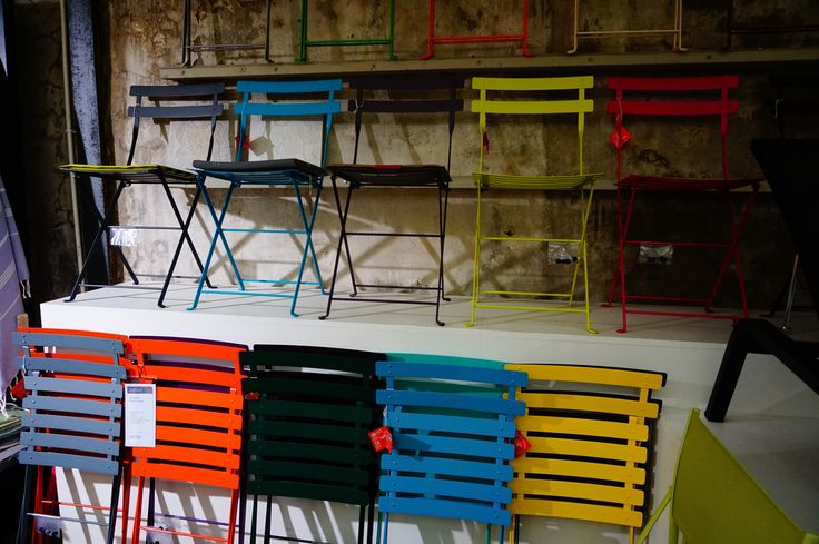 Stackable chairs from the Bistro collection by @Fermob