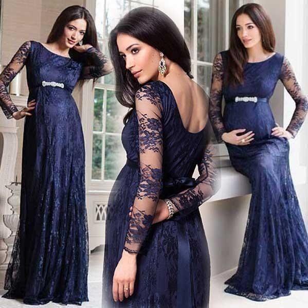 Hot Navy Blue Dubai Dresses Lace Evening Dress Long Sleeves 2016 Applique Pregnant Prom Dresses Elegant Women Formal Dresses Full Length Online with $141.37/Piece on Caradress's Store | DHgate.com
