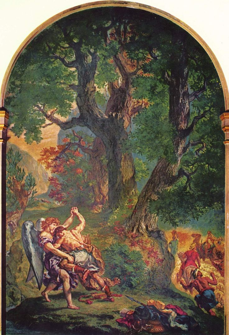 Jacob s fight with the angel eugene delacroix completion date 1861