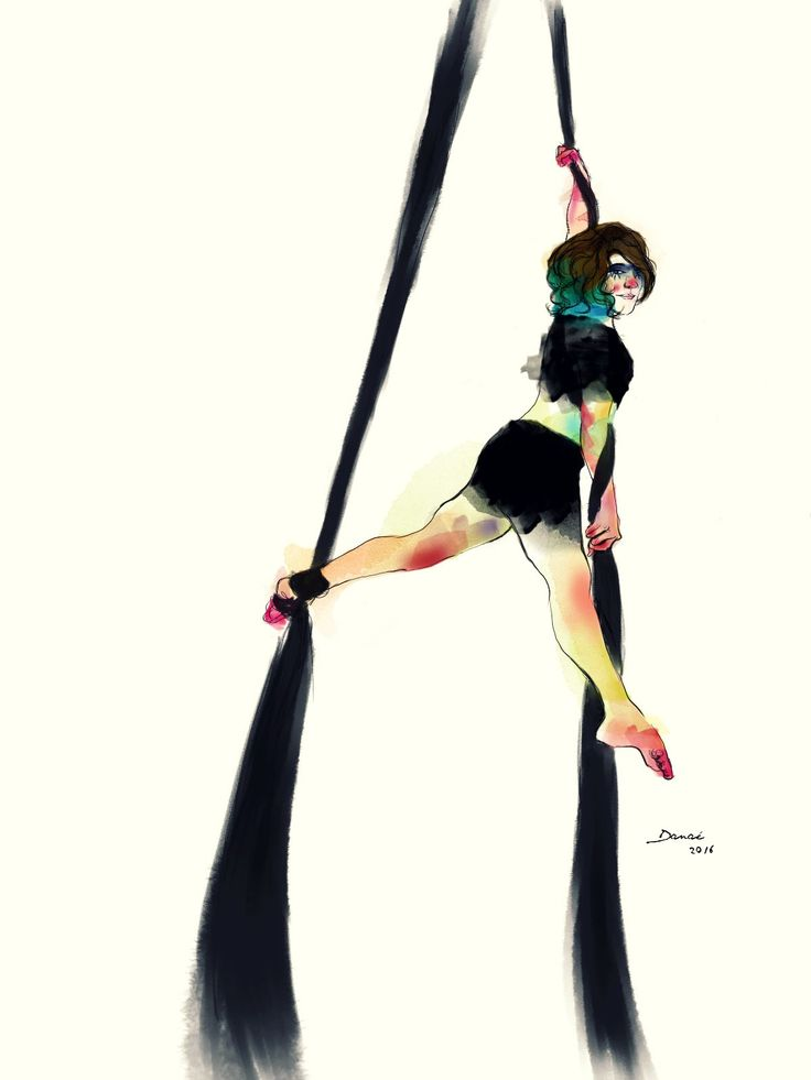 Watercolor aerialsilks  Circus Inspiration