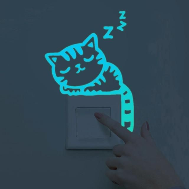 Cute Luminous Home Decoration DIY Funny Switch Sticker Glow In The Dark Sticker
