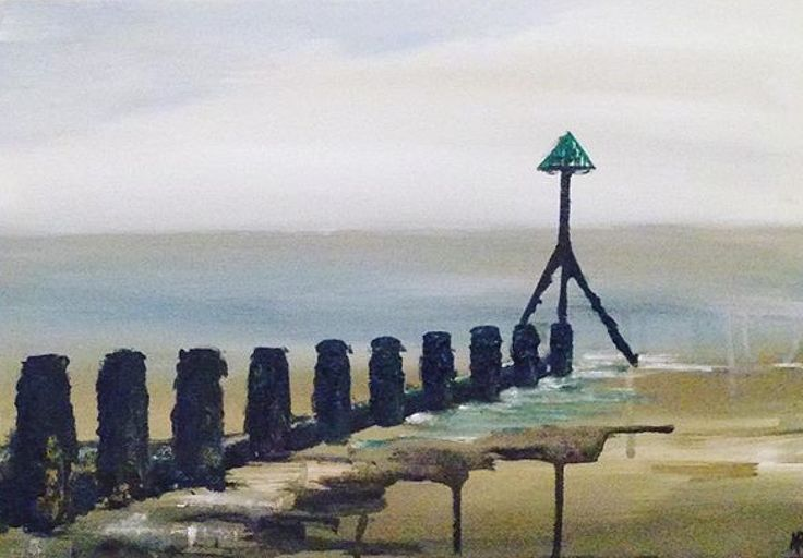 Acrylic on canvas, Selsey Beach by Amy Routledge Art