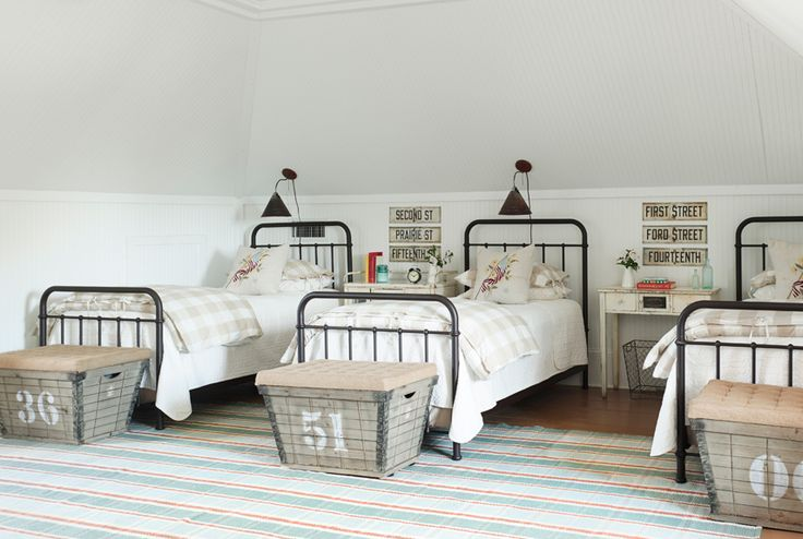 In order to sleep a crowd, this Texas home owner outfitted a sophisticated bunk room with iron twin frames, wired baskets that stand in for luggage racks, and made-in-Austin sconces that allow her guests to read without disturbing their roommates.