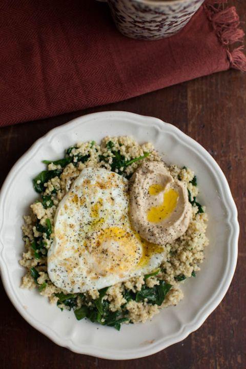 Garlic Spinach, Millet, Hummus & Eggs