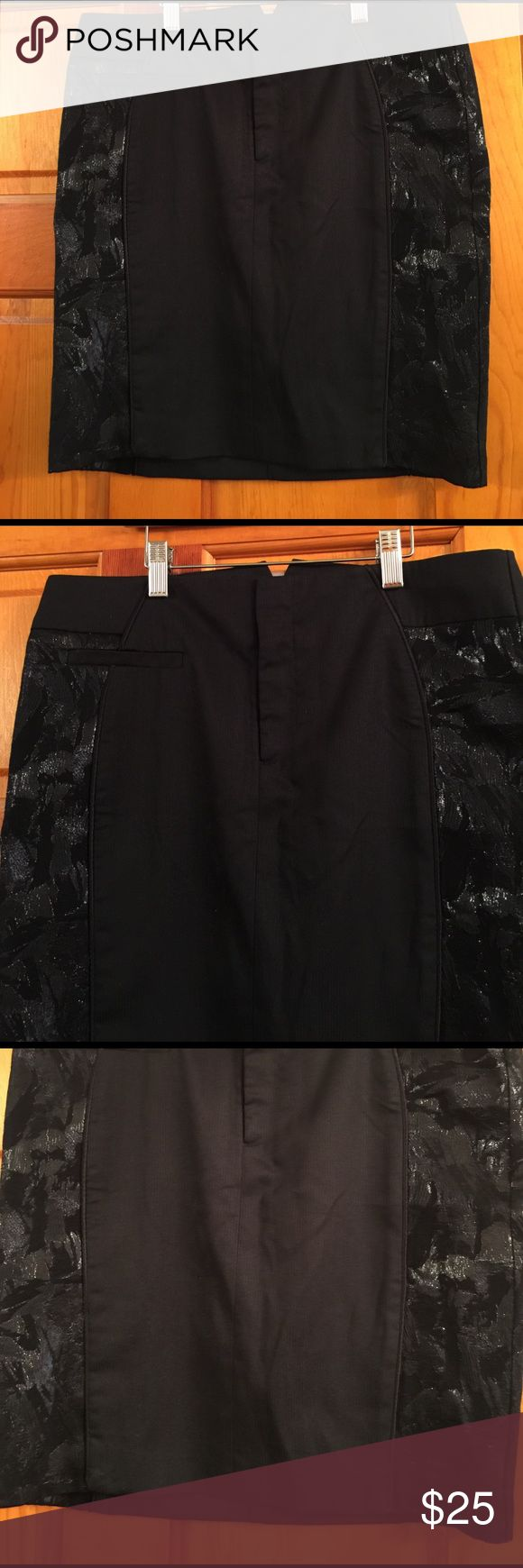 """BCBGeneration CURVE Skirt, SZ 8, NWT, Black BCBGeneration CURVE SKIRT, Size 8, New with Tags. KSR3B852-001. Fully lined. 72% polyester, 24% rayon, 4% spandex. Contrast: 58% polyester, 30% rayon and 12% metallic. Lining:100% acetate. Black on black very thin pinstripes, front center hooks and zipper, 2 back decorative pockets. 16"""" waist, 18"""" total length, 19"""" hips. BCBGeneration Skirts Mini"""