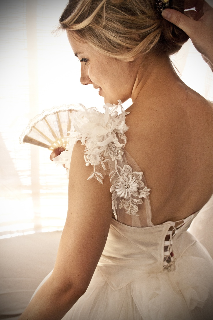 Tulle ball skirt, ivory satin bodice with applique lace details - Made with love by Aplomb Couture