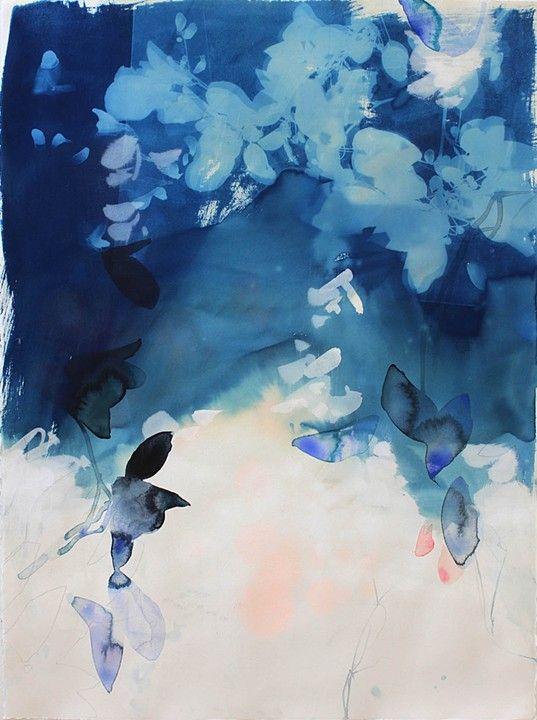 "Elise Morris, Light's Fall 6.2, 2013, Cyanotype and acrylic on paper, 30x22"""