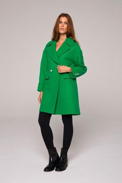 Manteau vert esprit rétro en drap de laine armuré #manteau #vert #laine #femme #qualité #lenerfabriquedemanteaux