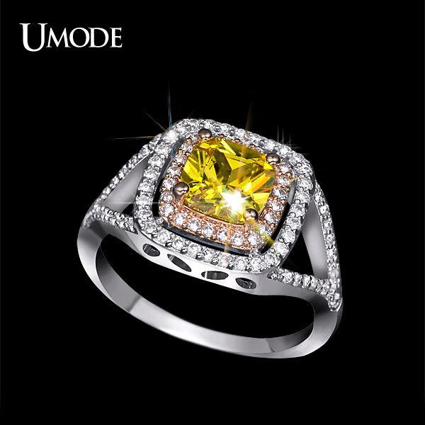 Check it on our site UMODE Wholesale Luxury Female Jewelry Best Quality Cushion Cut AAA Yellow CZ Halo Engagement Rings For Women Bijoux AUR0143 just only $7.37 with free shipping worldwide  #weddingengagementjewelry Plese click on picture to see our special price for you